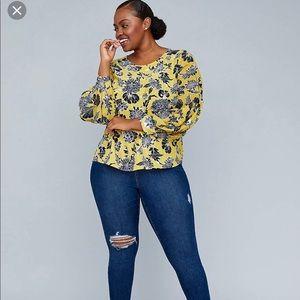 Lane Bryant Tops - Girl With Curves Lane Bryant Floral Blouson Blouse